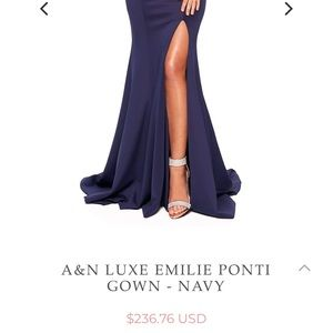 A&N Luxe Label Dresses - Navy blue full length long prom dress